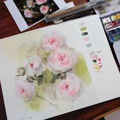 My private class today.  #watercolor #paint #painting #art #artist #rose #roses #sweet #private #class