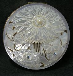 Vintage Exquisite Carved Mother of Pearl Shell Flowers Rhinestone Powder Compact | eBay