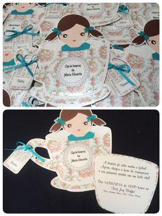 Convite Infantil tema Chá de bonecas produzido por Mônica Guedes