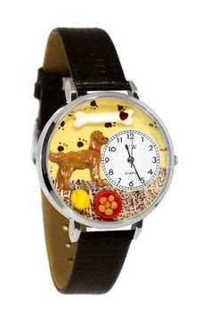 Golden Retriever Black Skin Leather And Silvertone Watch