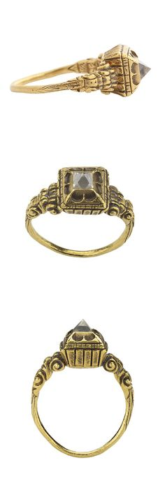 Renaissance Diamond Ring, c 1500, Netherlands, gold and diamond