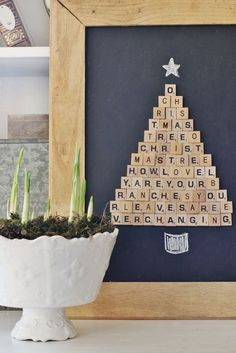 Easy Scrabble Tile Christmas Tree Project Looking for an easy project you can make in an hour? Here are the step-by-step instructions to make this DIY Scrabble Tile Christmas tree. Noel Christmas, All Things Christmas, Handmade Christmas, Vintage Christmas, Christmas Ornaments, Christmas Music, Christmas Movies, Creative Christmas Trees, Ceramic Christmas Trees