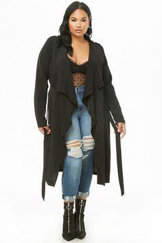 0955ad211f1 Plus Size Longline Drape-Front Cardigan