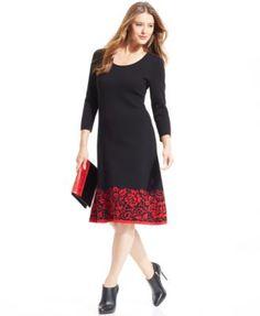 Anne Klein Three-Quarter-Sleeve A-Line Sweater Dress | macys.com