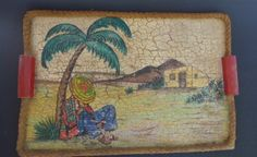 "Vintage Early California Old Mexico Monterey crackle wood tray 16 1/4"" x 10 3/4"""