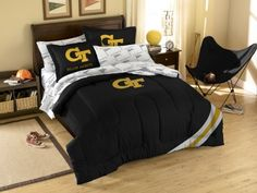 NCAA Georgia Tech Bedding Set by Northwest. $86.99. Twin has 1 sham and 1 pillowcase/Full has 2 shams and 2 pillowcases (not pictured). Polyester/Cotton blend. Unisex Adults. Officially Licensed Georgia Tech Yellow Jackets Bed in a Bag Bedding Set. Please Check Item Specifics. This complete 100% polyester bedding set features the team's colors and applique logo on the comforter, printed sheets (non-logoed), sham(s) and sillowcase(s). Sheets have a 180 thread count. Fitted shee...