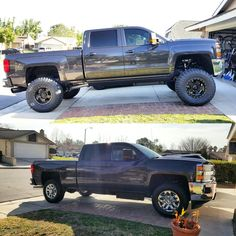 Before and after. 2016 Chevy Duramax 4x4 CST lift Toyo tires.