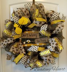 A personal favorite from my Etsy shop https://www.etsy.com/listing/266515217/burlap-wreath-bee-wreath-bumble-bee