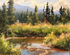 "Loved painting along this stream in Rocky Mountain National Park a few weeks ago. ""On the Bank"" 8X10 Plein air oil."