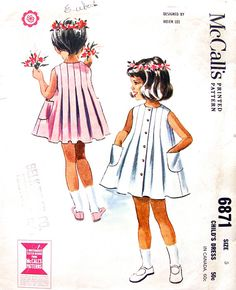 """McCalls 6871 Vintage Sewing Pattern 1963 Designed By Helen Lee Child's size 5 Chest 23.5"""" Waist 21.5"""" Hip 25"""" Sleeveless Box Pleated Dress on etsy.com. jwt"""