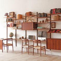 mid century book shelf desk - Recherche Google