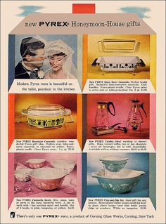 """Pyrex Ad, 1958""  ""Who else was bummed out when they got their Space Saver home, only to find out that its lid didn't actually defy gravity? [grumble]""  We had the ""Aqua"" color on the bottom right!     ""From the June issue of Good Housekeeping magazine."""