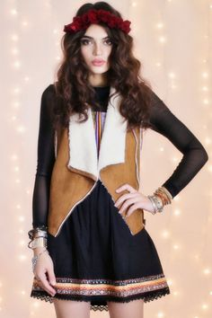 A shearling vest is the perfect layering piece this winter. #threadsence