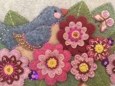 Felt w/embroidery, beads & sequins. Handmade, one of a kind, original design. Suitable for framing. Felt Embroidery, Felt Applique, Embroidery Patterns, Crochet Crafts, Felt Crafts, Felt Banner, Wool Quilts, Felt Brooch, Sewing Projects