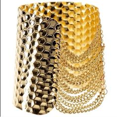 Coming soon 18k gold chain cuff 18k gold plated on base metals, one side with small thin chains for an edgy look but classy with a hammered side as well, nickel and lead free T&J Designs Jewelry Bracelets