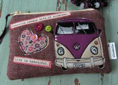 Handmade fabric coin purse campervan folksy purple   Fabric Crafts   Popular Crafts   Craft Juice