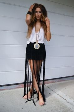 fringed maxi-mini skirt…