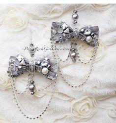 Vintage inspired bow chandelier earrings by PrettyRockGirl on Etsy