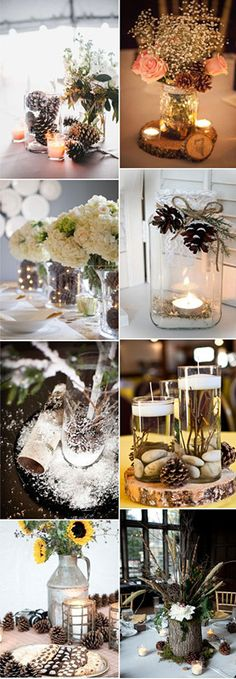 Pinecone wedding centerpieces with mason jars and burlpa perfect for rustic…