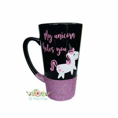 Glitter dipped mug. Unicorn mug. Unicorn glitter mug. Black latte mug at https://www.etsy.com/listing/280861296/my-unicorn-hates-you-glitter-dipped