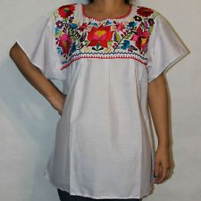 plus size 2x white peasant shirt blue design mexican style boho
