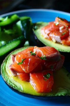 Abocado with marinated salmon