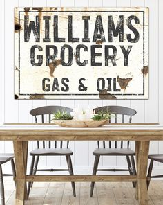 Personalized Williams Grocery Gas & Oil Wall Art – Modern Farmhouse Decor Canvas Prints - All About Decoration Farmhouse Wall Art, Rustic Wall Art, Modern Farmhouse Decor, Modern Wall Decor, Wall Art Decor, Rustic Kitchen, Antique Kitchen Decor, Farmhouse Kitchens, Industrial Farmhouse
