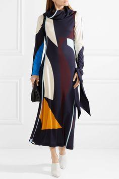 Victoria Beckham | Draped printed stretch-jersey midi dress | NET-A-PORTER.COM