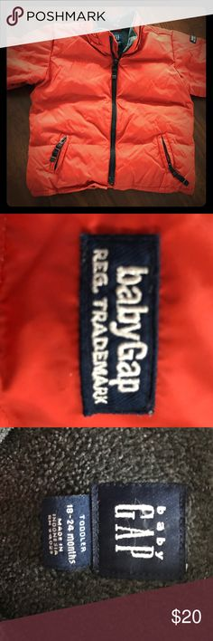 💙 Baby Gap Winter Coat Baby Gap rust orange/gray winter coat. 18-24 months size. This coat is in excellent condition w/ very minor wear. The detachable hood is missing but would be great for fall, areas that don't have brutal winters, or for the baby that wears a hat and scarf all season. All of my items come from my smoke-free home. Bundle and save!!! 📦❄️📦 Baby Gap Jackets & Coats