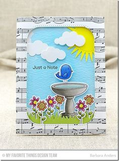 So tweet; little fatties; flower dies; music paper; sun die; cloud dies; watercolor background; punny ~ just a note