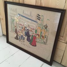 Vintage Framed Embroidery Art Toy Shop Front