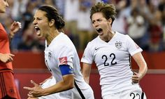 MONTREAL, QC - JUNE 30:  Carli Lloyd of Germany reacts as she scores the opening goal in the FIFA Women's World Cup 2015 Semi-Final Match at Olympic Stadium on June 30, 2015 in Montreal, Canada.  (Photo by Dennis Grombkowski/Bongarts/Getty Images) ORG XMIT: 528453287 ORIG FILE ID: 479077884