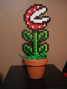 Piranha Plant perler from nintendo super mario bros 32 bit. $9.99, via Etsy.