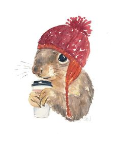 Coffee-Drinking, Hat-Wearing Squirrel, 8x10 -- WaterInMyPaint has some whimsical original watercolor painting.:
