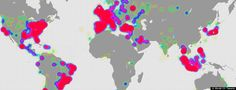 World map - Where tweets come from  via Huffington Post