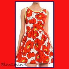 RED POPPIES KEYHOLE BACK DRESS -SIZE SMALL There's nothing quite as lovely as a field full of Poppies in the Springtime. Wearing is dress, you will radiate happiness all around.  A simple pullover dress with a full skirt, and a loophole back. 95% Poly/5% Spandex, Made in USA. Recommend cold water wash to maintain color brightness. Available only in Red.   LIMITED QUANTITIES IN SOME SIZES,  THIS IS A SIZE SMALL. NO HOLDS/TRADES. PRICE IS FIRM UNLESS BUNDLED. Miin Dresses