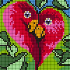 Love Birds Pattern / Bead Sprite / Alpha friendship bracelet pattern, cross stitch chart, Perler bead pattern, loom bead pattern, craft pattern