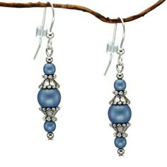 Jewelry by Dawn Round Blue Glass Beads With Pewter Accents Dangle Earrings | Overstock.com Shopping - The Best Deals on Earrings