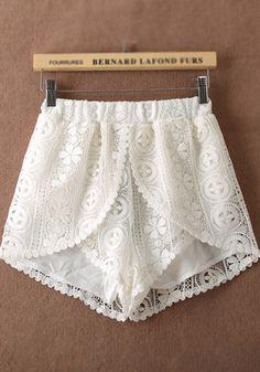 White Plain Lace Shorts Elastic Waist eb465769c8e