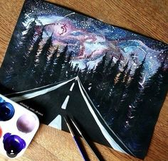 30 Startling Acrylic Galaxy Painting Ideas – looking_for_shootingstars - Space Beautiful Drawings, Cool Drawings, Painting Inspiration, Art Inspo, Art Sur Toile, Galaxy Art, Painting & Drawing, Space Painting, Road Painting