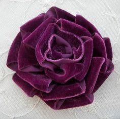 Eggplant Velvet Ribbon Rose Fabric Flower by delightfuldesigner.
