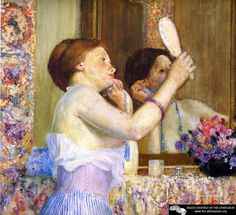 Woman with a Mirror  ~ Frederick Carl Frieseke ~ (American, 1874-1939)