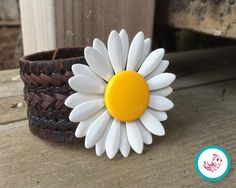 Vintage Daisy Brooch Leather Chick Cuff by HenandChicksToo on Etsy