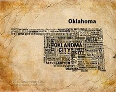 Typography art OKLAHOMA State Map Family by FancyPrintsforHome