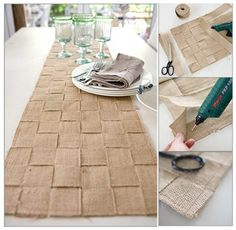 woven burlap table runner...LOVE this look.  burlap has soo many stray fibers- might spray w something befor e & after making this to cut down. Prob some sort of craft product for it  but perhaps just hairspray would work.