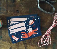 Space Cat Astronaut Gift Tags - Birthday Gift Tags - Pack of 10 with Twine