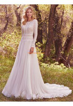 A-linie Glamouröse Romantische Brautkleider aus Chiffon mit Spitze