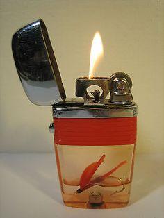 Vintage Lighter 1960s Scripto Vu Pipe Lighter Fly Fishing Lure Tackle Rare Model
