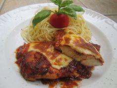 Parma, Mozzarella, Spaghetti, Chicken, Ethnic Recipes, Food, Hoods, Meals, Noodle