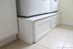 Pedestal for your washer/dryer. Great to boost up the height so you dont have to bend down as much, and also a great place for storage.